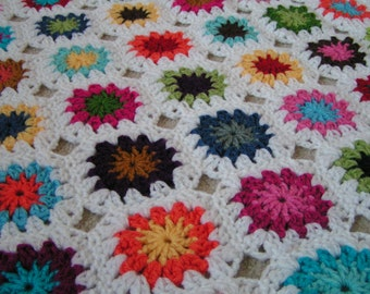Granny Square Blanket for Baby Multicolor Ready to Ship