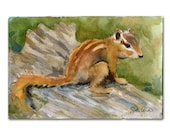 animal art | ORIGINAL watercolor painting of a Chipmunk | Woodland Creatures
