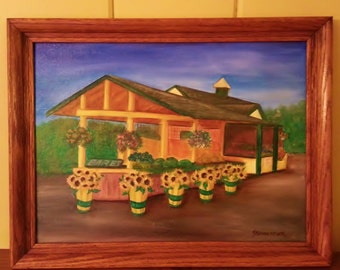 Farm Stand with Sunflowers Oil painting