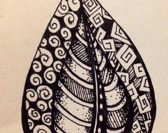 Whimsical leaf leaves  rubber  stamp  zentangle  art stamps original design by Mary Vogel Lozinak no 19677 floral folk
