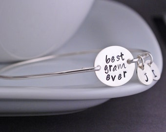 Best Gram Ever Bracelet, Gram Jewelry Gift in Sterling Silver, Christmas Gift for Gram,