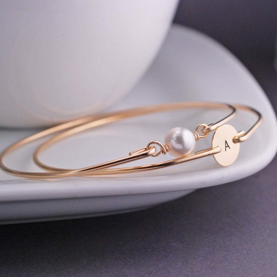 Personalized Gold Bangle Bracelet Set TWO Custom 14k Gold Filled Stamped Bracelet, Pearl
