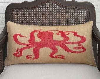 Octopus  - Burlap Pillow - Nautical Decor - Octopus pillow - Nautical Pillow - Octopus Art Pillow - Octopoda