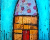 "HOME 134 a Vibrant Encaustic mixed media painting by Becci Hethcoat 9"" x 12"" Ready to hang!"
