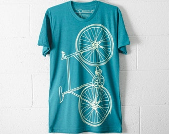 SALE Bike TSHIRT SMALL mens lightning fixie bicycle on evergreen tri-blend S