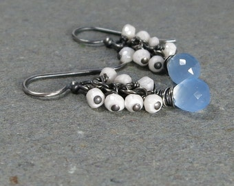 Sky Blue Earrings Chalcedony, White Agate Cluster Oxidized Sterling Silver Gift for Her