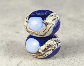 Blue Glass Lampwork Bead Pair of 2 with Silvered Ivory Accents Small 11x7mm Midnight and Periwinkle
