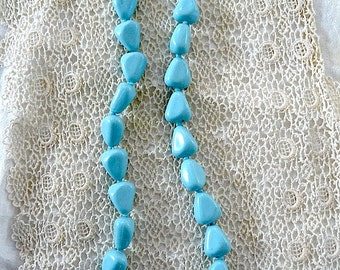 SALE - vintage baby blue triangle beads single strand necklace