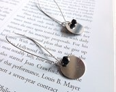 dangle earrings with silver discs and black crystals - long silver earrings - vanity noir earrings