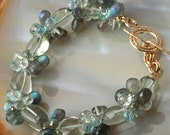 50% OFF - Green Amethyst, Moss Aquamarine, Labradorite, Topaz, Bangle Style, 14K gold FIll, Bracelet
