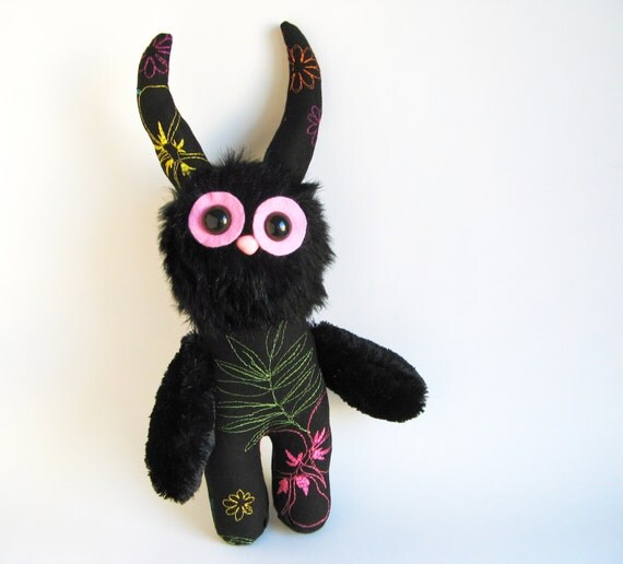 Stuffed Animal Monster Cute Plush Toy Monster Kawaii Plushie Softie Midnight Black Pink Snuggly Cuddly Faux Fur Creature Botanical Print
