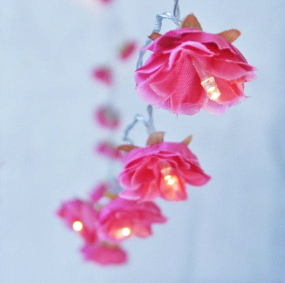 Hot pink shabby rose fairy lights string lights by pamelaangus for Shabby chic garland lights