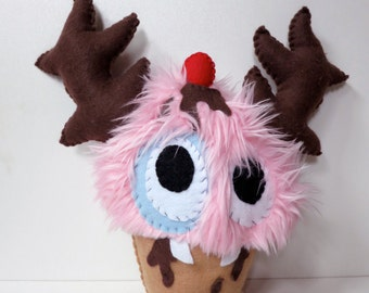 Medium Pink Cupcake Monster - Hand-stitched plush cupcake toy