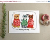 On Sale Christmas Card, Cat Christmas Card, Cat Holiday Card, Blank Holiday Card, Cat Card, Holiday Sweater Card - Holiday Sweater Cats