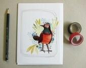 Greeting Card - Blank Card - Bird Notecard - Bird Stationery - Everyday Card - Bluethroat Bird