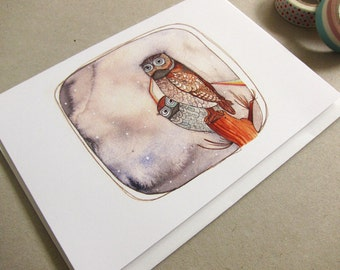 Owls - Wedding Card - Gay Wedding Card - Anniversary Card - I Love You Card - Blank Owl Card - Owl Greeting Card -Two Owls