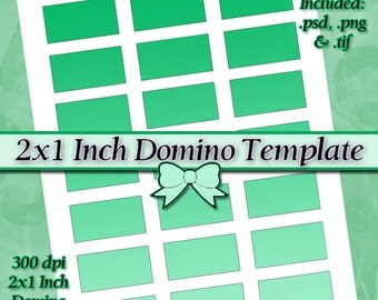 2x1 inch Rectangle Domino DIY DIGITAL Collage Sheet TEMPLATE 8.5x11 Page with Video Tutorial Instructions (Instant Download)