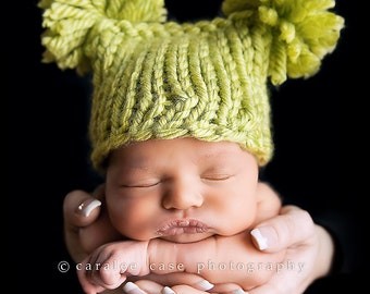 Little Lime  Double Fluff Baby Hat Photography Prop Ready to Ship