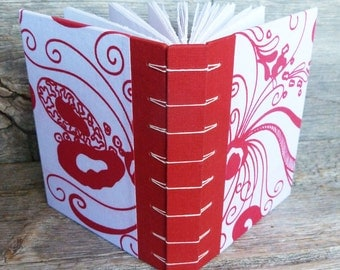 Whimsical Red and White handbound journal