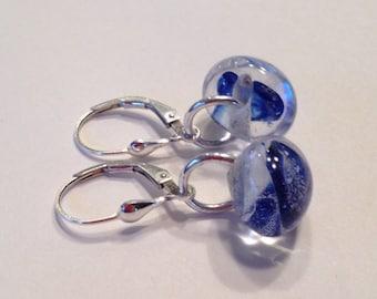 Blue Tear Drop Onion Luscious Lampwork Handmade Glass Beads Unicorn Earrings Lever Back Sterling Silver