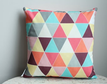 Raspberry triangle Pillow cover 18 inch 18x18 modern hipster accessory home decor nursery baby gift zipper closure canvas ready to ship