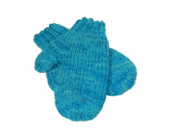 Blue Mittens - Hand knit Hand Dyed Wool