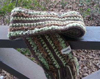 Green and Brown Textured Scrappy Scarf