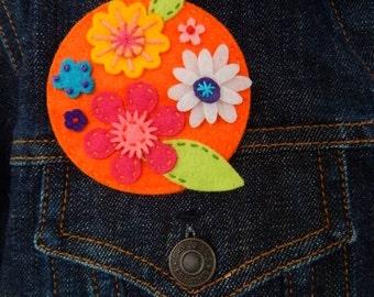 Round Felt Flower Brooch - Orange, Pink, Yellow, White, Turquoise, Purple and Green