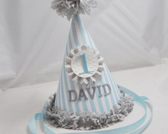 Striped Party Hat- Boy 1st Birthday- Personalized
