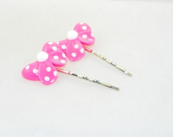 Pink and white bows on Bobby Pins - set of 2, child, girl, cute, hair accessories