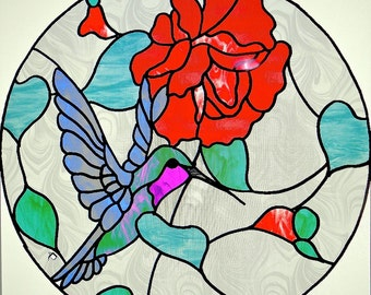 Rose and Hummingbird Stained Glass Panel