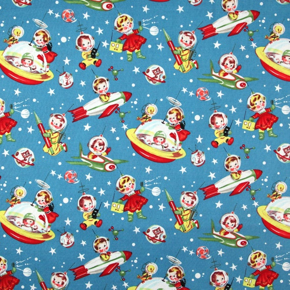 Retro rocket rascals fabric michael miller 1 yard for Rocket fabric