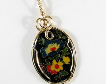 Floral Cloisonne 14k gold filled wire wrapped pendant