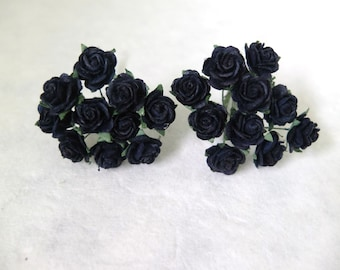 20 Mulberry black paper roses (15mm) - black paper flowers - mulberry flowers - mulberry roses