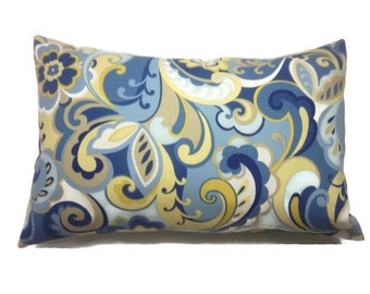 Decorative Pillow Cover Paisley Design Lumbar Cadet Blue Powder Blue Yellow White Taupe Same Fabric Front/Back Toss Throw Accent 12x18 inchx