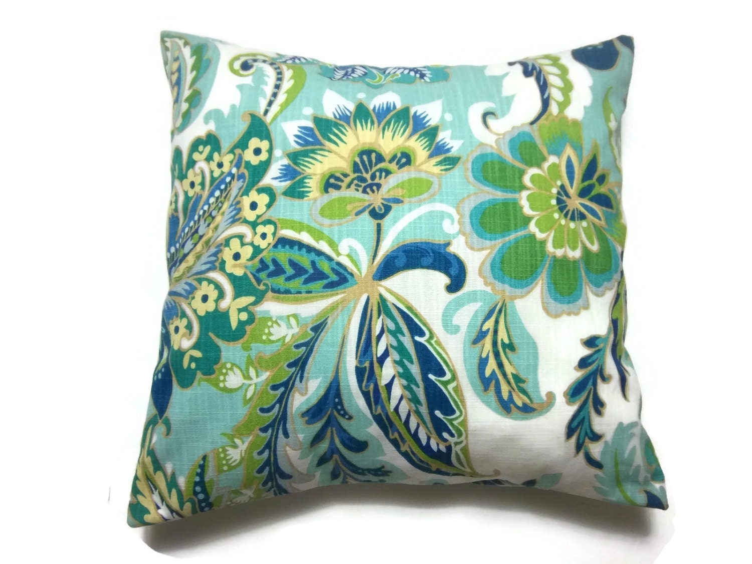 Decorative Pillow Cover Shades of Blue Green Yellow White