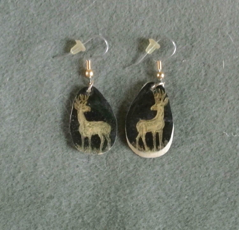 antler earrings gold black deer painted by tandpcrafts