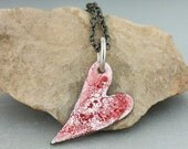 Small Enameled Heart Pendant, Torch Fired, Red Heart Pendant