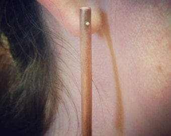 Copper rod earrings