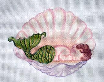 Handpainted Needlepoint Canvas Baby Mermaid in Shell