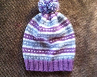 Hand knit slouchy hat.