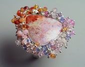 Indonesian Fossil Coral Statement Ring with Pastel Gemstone Fringe . Size 6.25