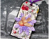 Handmade Art Tag Bookmark Mixed Media Beautiful Bird and Nest Double Sided Collage Nature Theme