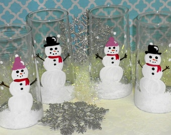 Hand Painted Country Snowman Christmas Drinking Glasses, Snowman Gifts, Winter Decor