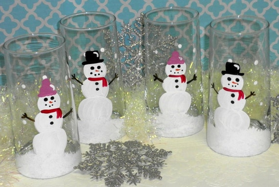 Hand Painted Country Snowman Christmas Drinking Glasses