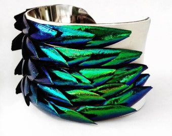 Jewel Beetle Wing Silver Lined Cuff Bracelet - by UNEARTHED