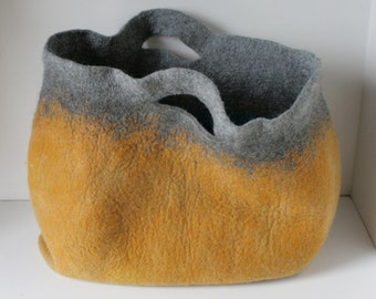 Mustard Sturdy Heavy Duty Extra Large Art Bag / Cottage/ Tote / Shopping / Market / Picnic / Hand felted wool / Wearable Art