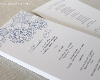 Hydrangea Wedding Programs, Hydrangea Ceremony Program, Order of Service,  Printed Wedding Programs, Blue Hydrangea Flower Programs