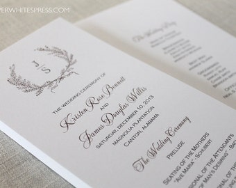 Laurel Wreath Ceremony Program, Wreath Monogram Wedding Program, Laurel Wreath Programs, Printed Wedding Programs
