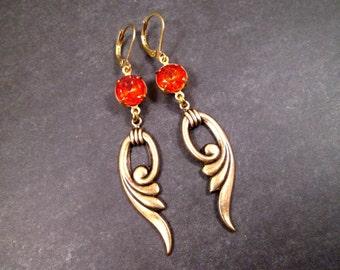 Rhinestone Drop Earrings, Hyacinth Red Glass Stones, Long Brass Dangle Earrings, FREE Shipping U.S.